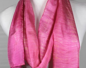 "100 percent silk scarf 8""x72"" Shibori technique in a soft pink design, made to order"