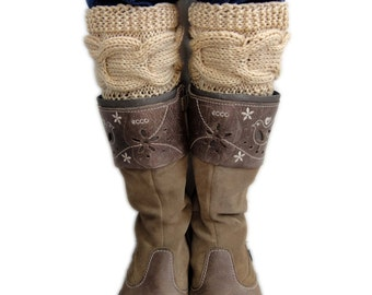 Knitted Cable Boot Cuffs. Knit Chains. 44 Different colors. Leg Warmers. Boot Toppers. Fashion Accessory for Women and Teens.