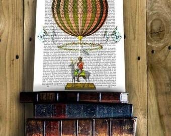 Zephire Hot Air Balloon Print, Upcycled Dictionary Print, Balloon Illustration wall art wall decor wall hanging hot air balloon decor