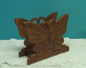 Butterfly Napkin Holder ~ Carved Wood ~ Farmhouse ~ Country Kitchen ~ Mail Holder