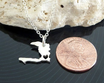 Tiny Sterling Silver Haiti Necklace / Custom Heart / Small HaitiNecklace / Love Haiti / Country Necklace