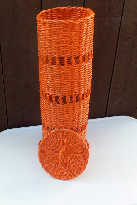 Tissue Paper Roll Basket : Wicker toilet paper holder bathroom tissue roll orange powder