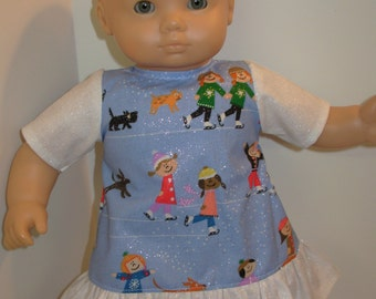 """Sale - 15 inch """"ICE SKATERS Sparkling"""" Dress, 15 inch AG American Doll Bitty Baby/Twin Doll, Skating, Sparkling Ice Skaters - Winter Fun!"""