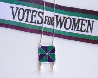 Suffragette Necklace - Hand embroidered purple, green and white pattern.