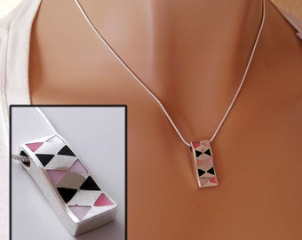 925 Mother of Pearl and Black Enamel Harlequin Pendant Necklace, Upcycled, Sterling Silver, anniversary gift birthday present, ID 220972739