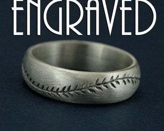 America's Pastime Oxidized Finish-Engraved-6mm Wide-Sterling Silver-Baseball Ring-Hand Cut Baseball Pattern-Handmade Ring-Men's Wedding Ring