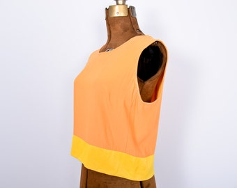 SALE ! Sunshine Sherbet Color Block Tank with Button Up Back