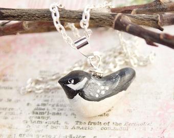 Chickadee Necklace , Nature Jewelry , Handmade Chickadee Pendant, Bird Necklace