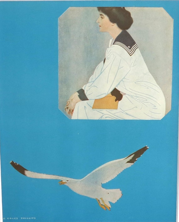 Antique print of illustration by Coles Phillips, Lass that Loved a Sailor, beautiful woman pining for absent lover, matted, 11x14 ins, 1911