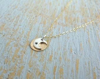 Tiny sun and moon necklace, Sun and Moon Necklace, Dainty Necklace, Layered sun & moon necklace, star and moon necklace