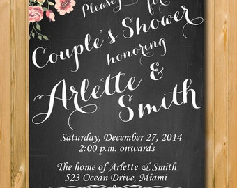 Rustic Couples Shower invitation, DIY Party invitation, Chalkboard Couples Shower Invitation, Flower Invites