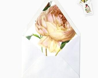 Peach Garden Rose Envelope Liner, DIY Printable Wedding Invitations