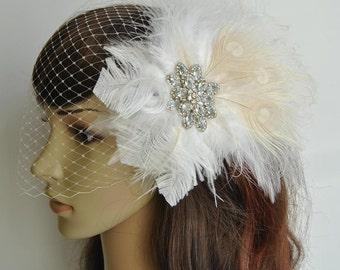 Fascinator and bridal veil, Rhinestone Bridal Ivory Fascinator, Bridal Feather Fascinator,Wedding Bridal Birdcage Veil,
