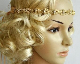 Gold Rhinestone Headband, Great Gatsby Headband, Crystal Headband, Wedding Bridal  ribbon Headband Headpiece, 1920s Flapper headband