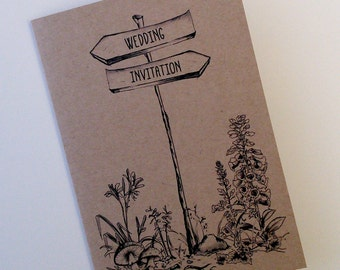 SAMPLE of Woodland Walk Forest Kraft wedding invitation