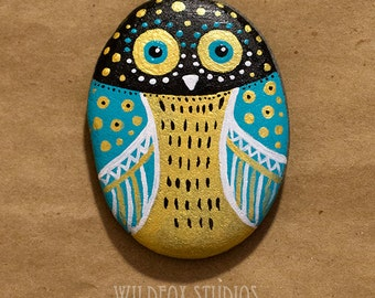 Hand Painted Owl Stone || Painted Owl Rock || Teal, Black, Gold & White