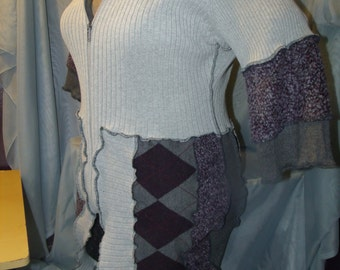 one of a kind,turtle,neck,coat,1x,2x,plus,xxl,16,upcycled,argyle,sweater,artsy,boh0,14,katwise,inspired,lagenlook,black,womens,mens,zipped