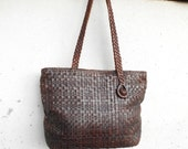 Vintage Leather Bag Dark Brown Woven Leather Tote // Handmade // Medium // Made in Indonesia / Gift for Her