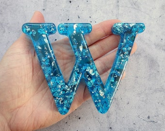 Alphabet Letter Z Wall Letter Z Blue Resin Silver Leaf