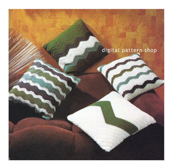 Crochet Free Pattern Promotion Shop For Promotional: Crochet Chevron Pillow Pattern Vintage 1970s Chevron Pillow