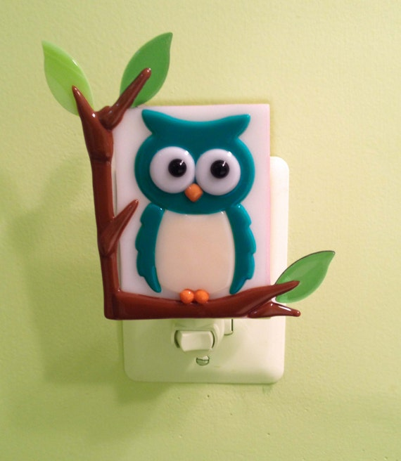 Items similar to little hoot night light fused glass owl for Owl decorations for the home