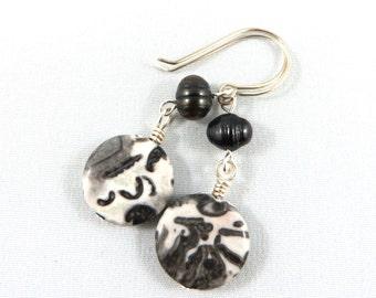 Leopardskin Jasper and Freshwater Pearl Earrings in Sterling Silver.   JemstoneZ Earrings.