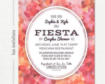 couples shower invitation, fiesta bridal shower invitation, red pink coral watercolor, printable bridal shower invite, geometric 5x7 408