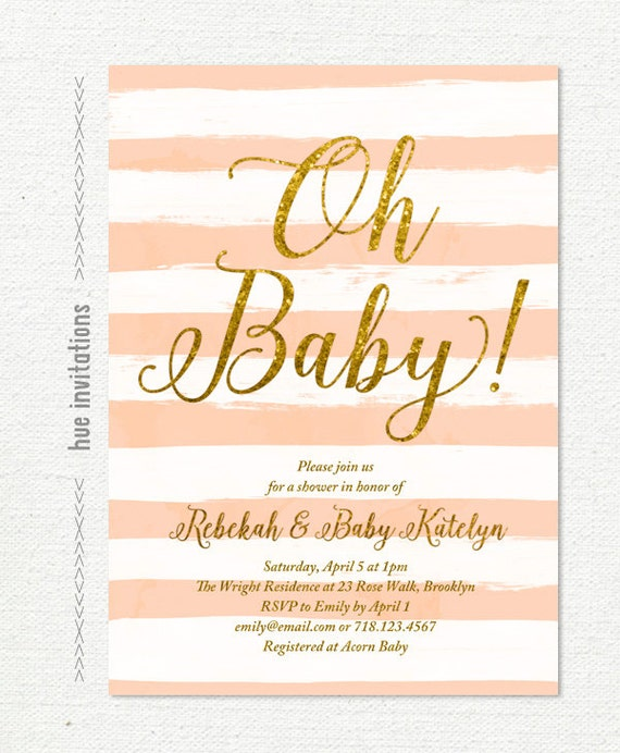 oh baby girl baby shower invitation pastel pink coral and, Baby shower invitations