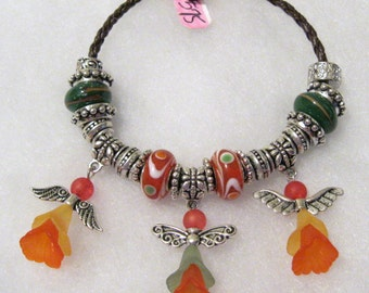 575 - Orange and Green Angel Bracelet