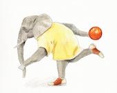 Elephant Bowler - Archival print- Funny animal art - Elephant art print - Bowling