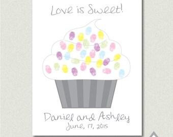 Love is Sweet Cupcake Fingerprint Guest Book, Wedding thumbprint guestbook, Finger print, Printable PDF, DIY thumb print Guestbook