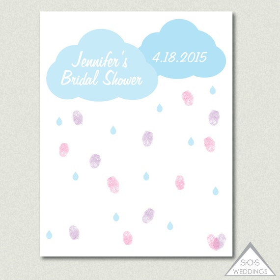 rain cloud bridal shower guest book baby shower thumbprint