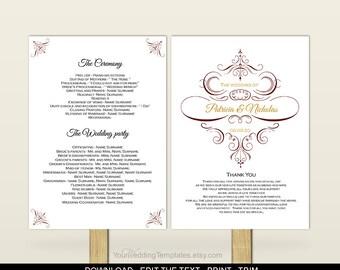 Fan wedding program template-DIY wedding fan program template-Download instantly-Maroon gold