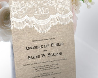 rustic lace wedding invitation etsy. Black Bedroom Furniture Sets. Home Design Ideas