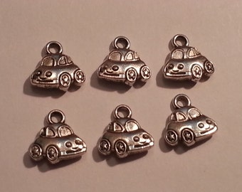 10mm Doodle Bug Car Charms/Pendants/Decor - 6pc - Tibetan Silver
