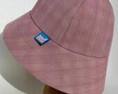 Womens pink pinstripe gaberdine fall rainhat with yellow linen lining