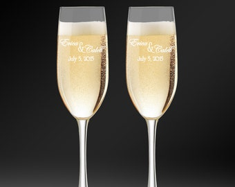 Champagne Flutes, Toasting Glasses, Wedding Gift, Bride and Groom, Personalized Champagne Glasses, Custom Flutes, Anniversary Gift.