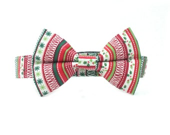 Festive Christmas Ribbons Holiday Bow Tie Dog Collar Set-Removable Bowtie