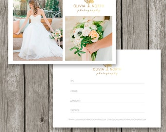 Gift Card Template for Photographers - Gift Certificate Template - Gold Logo Marketing Card - Photoshop Photo Design- GC07