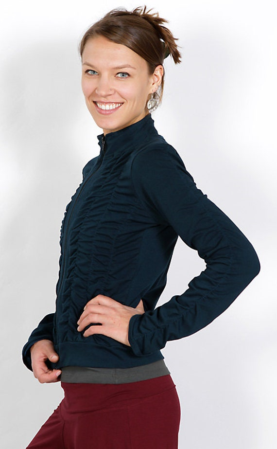 Mrs Peacock Ruched Women's Jacket in Dark Teal Cotton