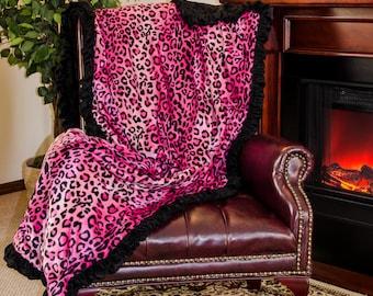 Pink Leopard Velboa Fur Twin Punk Quilt 44 x 77 Black Velour Lamb Skin Blanket Comforter Bedspread *Free Shipping Inside U.S.