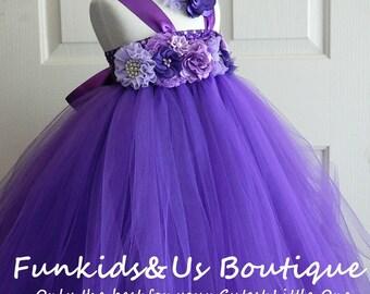 Perfectly Purple Flowergirl Tutu Dress- Weddings, PhotoProp, Birthday
