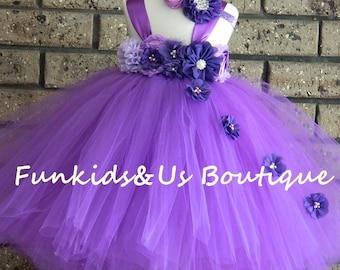 Purple Flower girl Tutu Dress- Birthday, Wedding, Photo Prop,choose your dress color