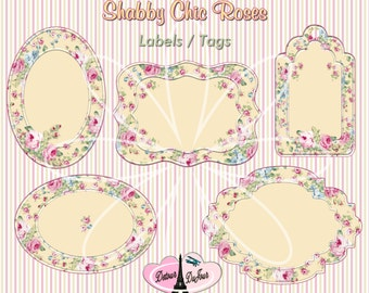 Shabby Chic, LABELS, GIFT TAGS, Shabby Chic Floral Labels, Yellow