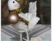 Nostalgic whimsical winter fabric bird christmas decoration soft sculpture