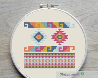cross stitch pattern geometric navajo aztec tribal, PDF pattern ** instant download**