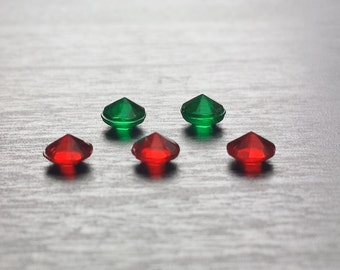 Set of 5 Crystal Floating Charms for Floating Lockets-Red & Green Acrylic Crystals-Gift Idea for Women