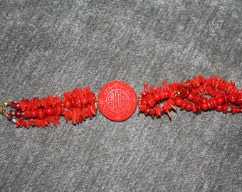 Red Coral and Cinnabar Bracelet
