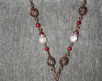 Copper Chain Necklace with Snowmen