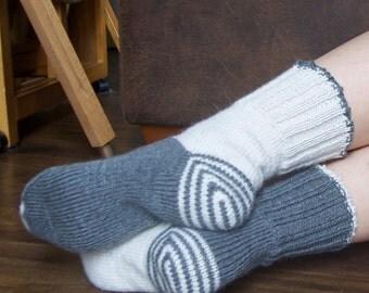 Grey/Cream White Combination Socks , Ladies Women Hand Knitted Mid-lenght, Warm, Woollen